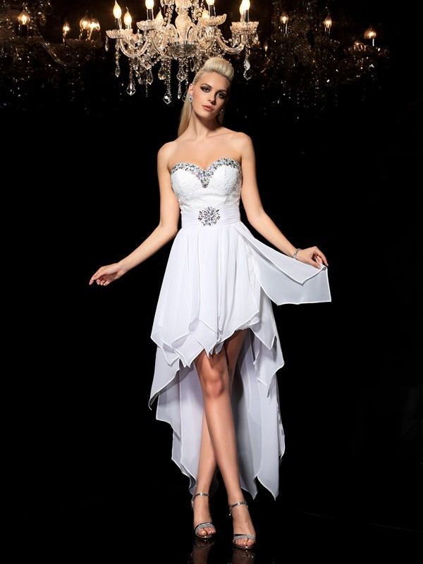 Lovely A-Line Princess Sweetheart Beading High Low Chiffon Cocktail Dress