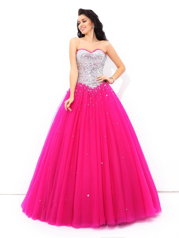 Ball Gown Beading Sweetheart Long Satin Quinceanera Dress