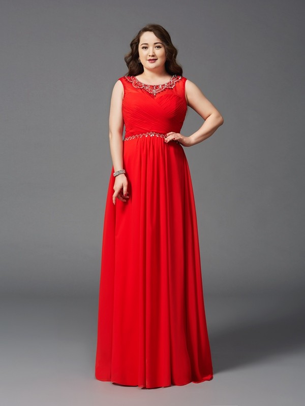 Lovely A-Line Princess Scoop Beading Long Chiffon Plus Size Dress