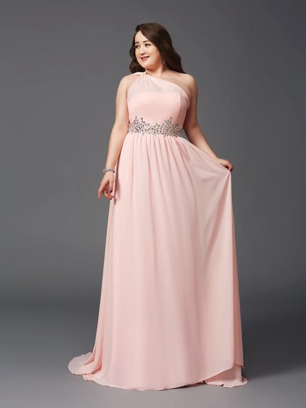 Lovely A-Line Princess One-Shoulder Rhinestone Long Chiffon Plus Size Dress