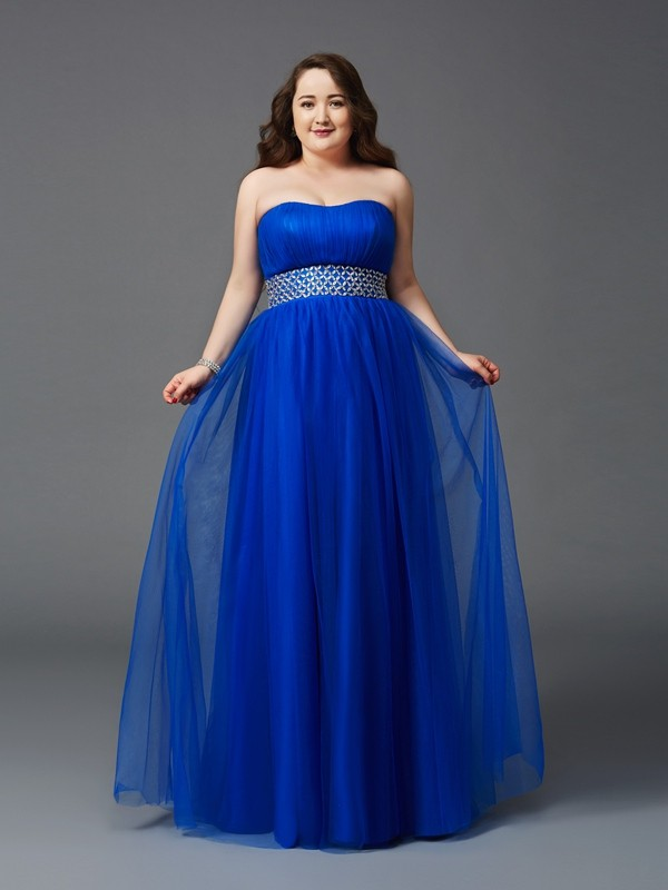 Lovely A-Line Princess Strapless Rhinestone Long Net Plus Size Dress