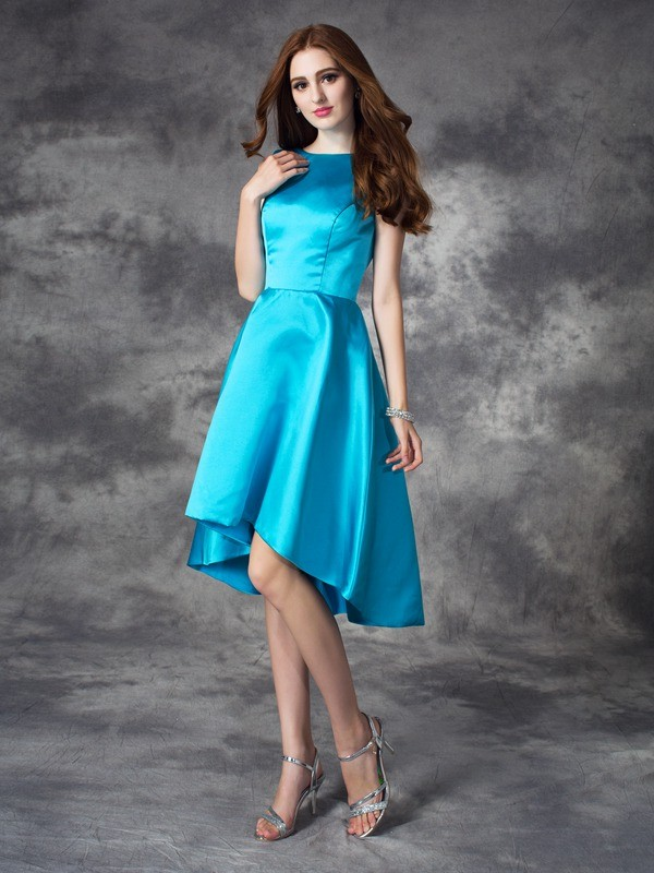 Lovely A-Line Princess Bateau Ruffles High Low Satin Bridesmaid Dress