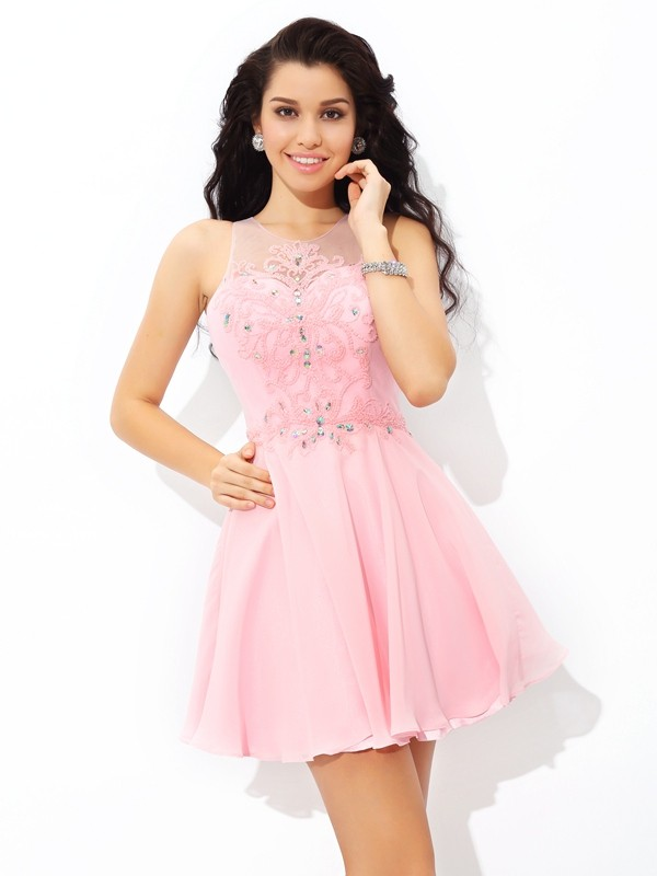 Lovely A-Line Princess Sheer Neck Applique Short Chiffon Cocktail Dress
