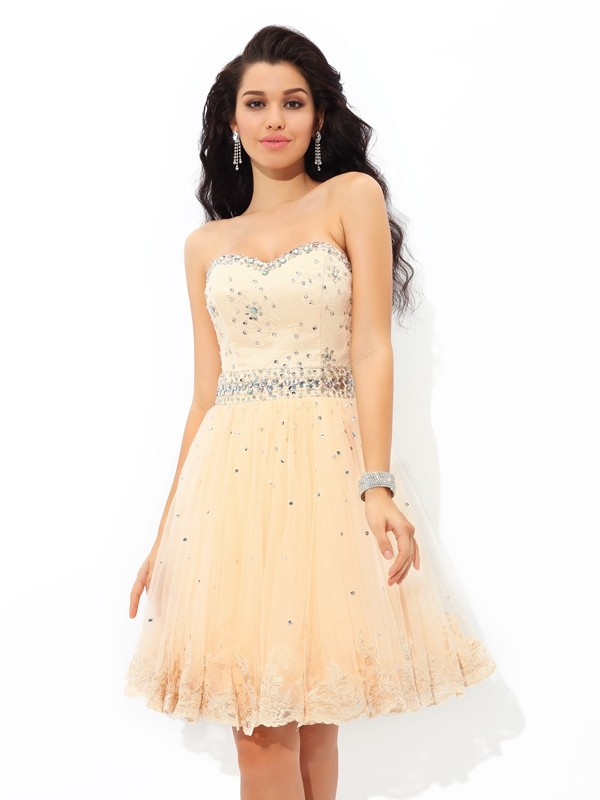 Lovely A-Line Princess Sweetheart Beading Short Satin Cocktail Dress