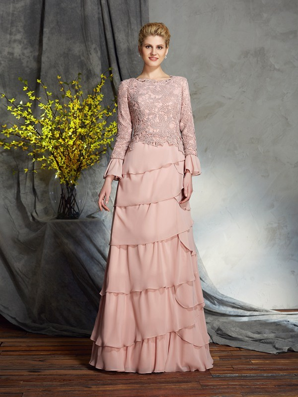 Sheath/Column Scoop Ruffles Long Sleeves Long Chiffon Mother of the Bride Dress