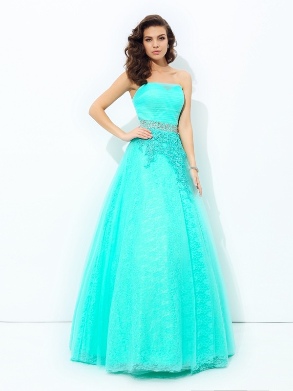 A-Line Princess Strapless Beading Long Elastic Woven Satin Dress