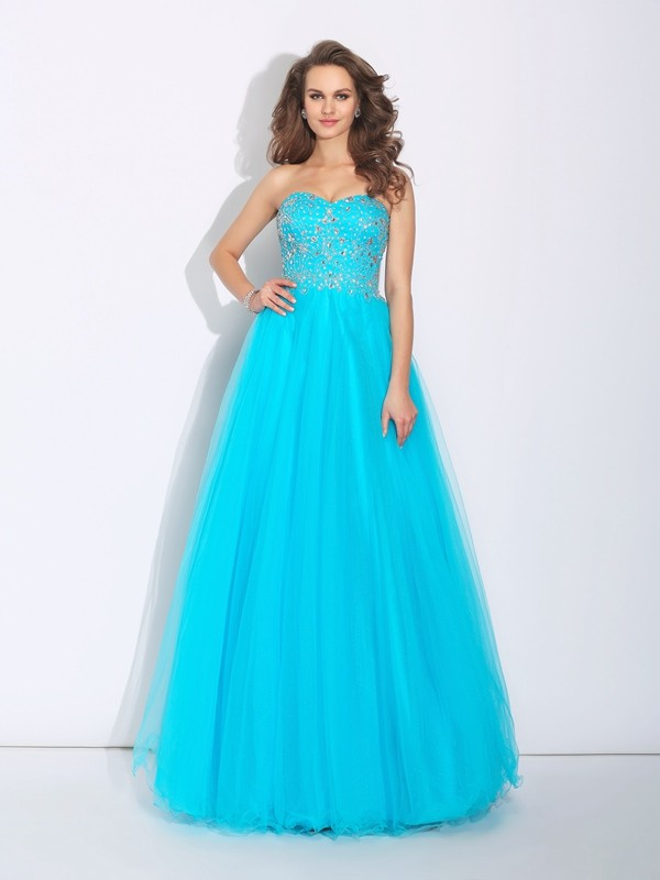 A-Line Princess Sweetheart Rhinestone Long Satin Dress