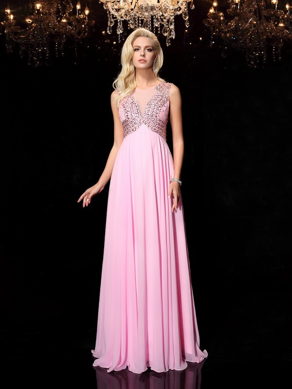 A-Line Princess Scoop Beading Long Chiffon Dress