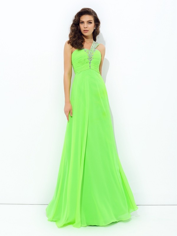 A-Line Princess One-Shoulder Rhinestone Long Chiffon Dress
