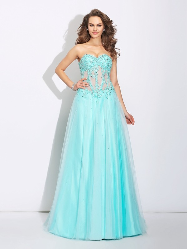 A-Line Princess Sweetheart Lace Long Net Dress