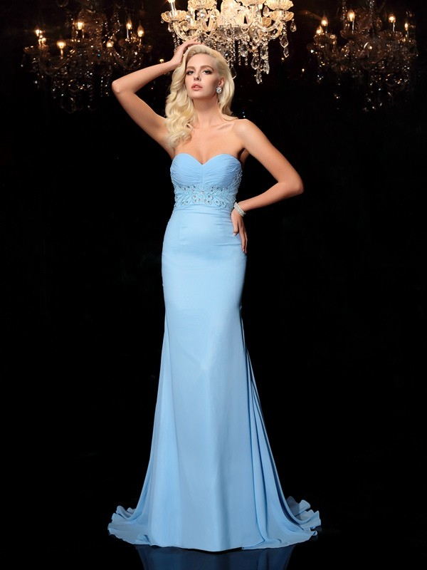 Mermaid Sweetheart Rhinestone Long Chiffon Dress