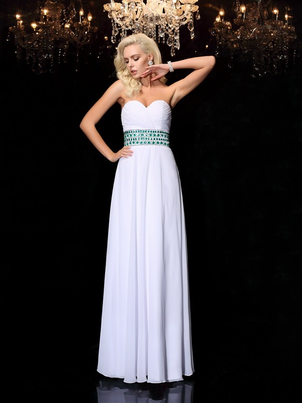 A-Line Princess Sweetheart Rhinestone Long Chiffon Dress
