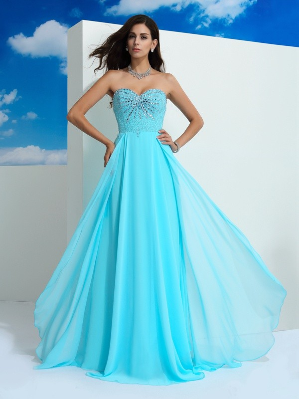 A-Line Princess Sweetheart Beading Long Chiffon Dress