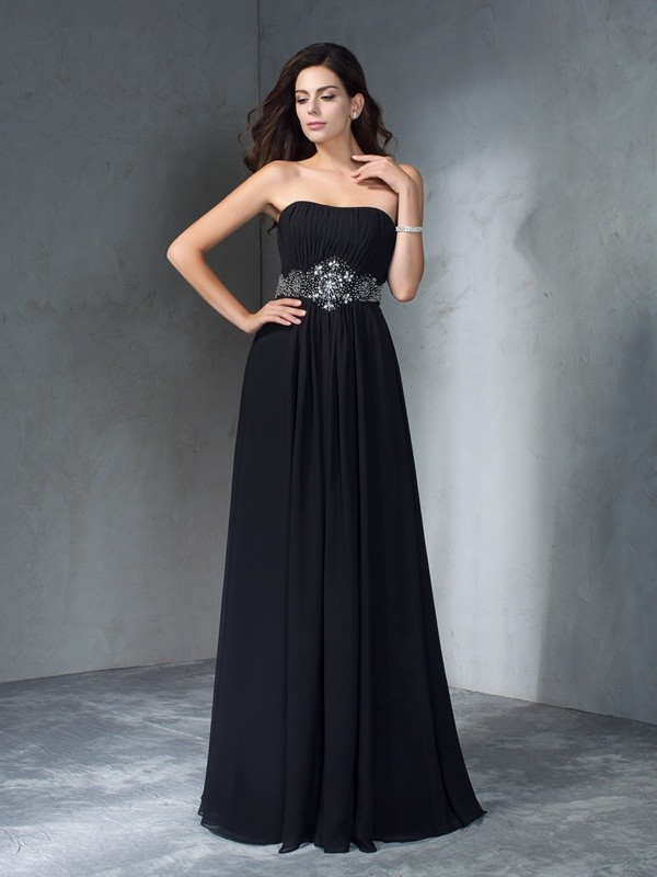 A-Line Princess Strapless Beading Long Chiffon Dress