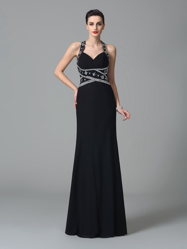 Sheath/Column Straps Beading Long Chiffon Dress