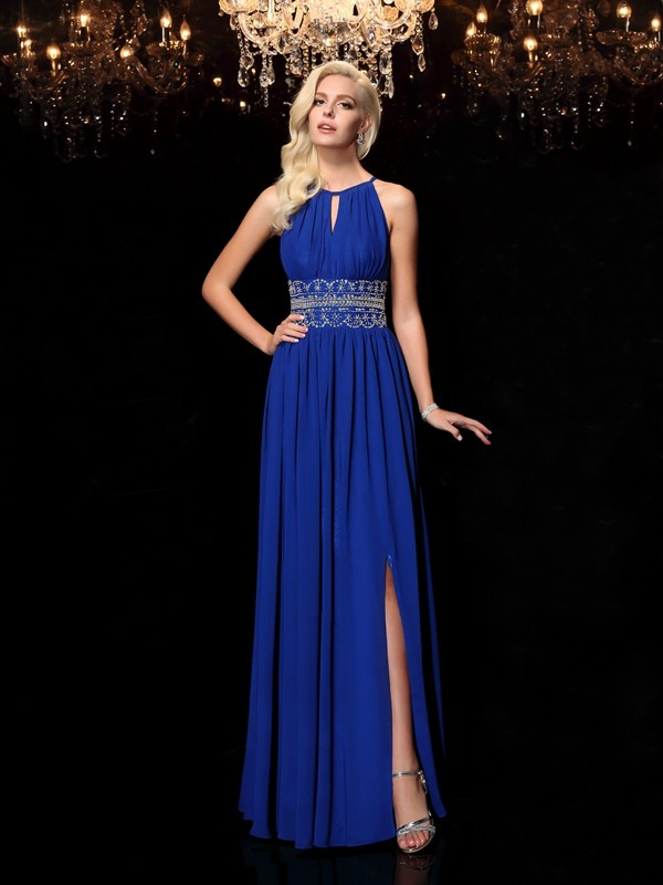 A-Line Princess Jewel Beading Long Chiffon Dress