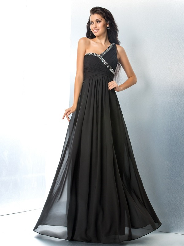 A-Line Princess One-Shoulder Beading Long Chiffon Dress