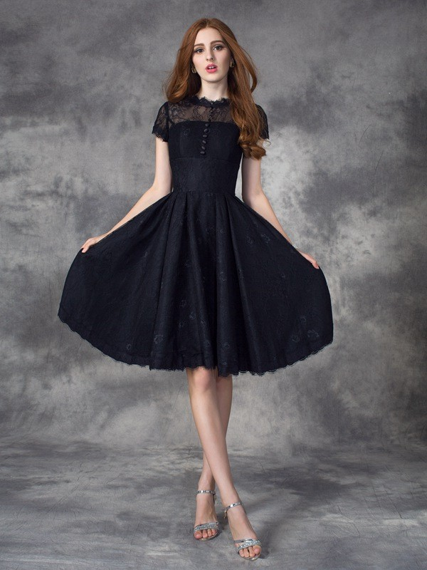 A-Line Princess Jewel Lace Short Sleeves Short Lace Dress