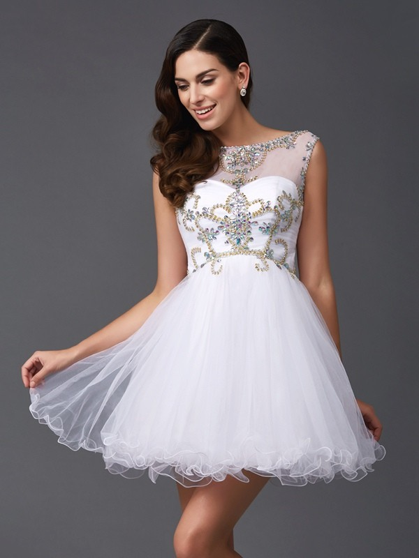 A-Line Princess Scoop Beading Short Net Dress