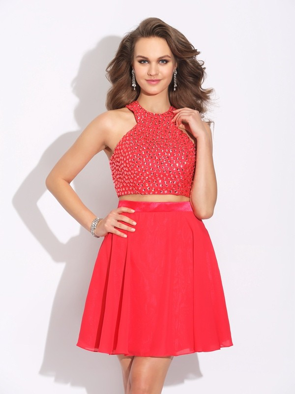 A-Line Princess Jewel Crystal Short Chiffon Two Piece Dress