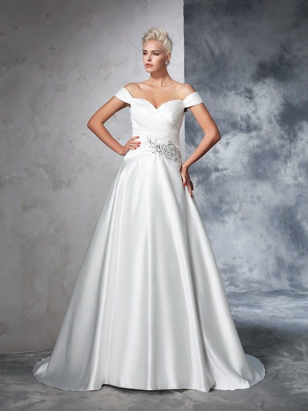 Ball Gown Off-the-Shoulder Ruched Long Taffeta Wedding Dress