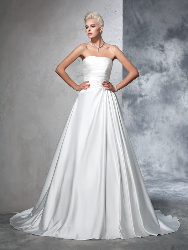 Ball Gown Strapless Ruched Long Satin Wedding Dress