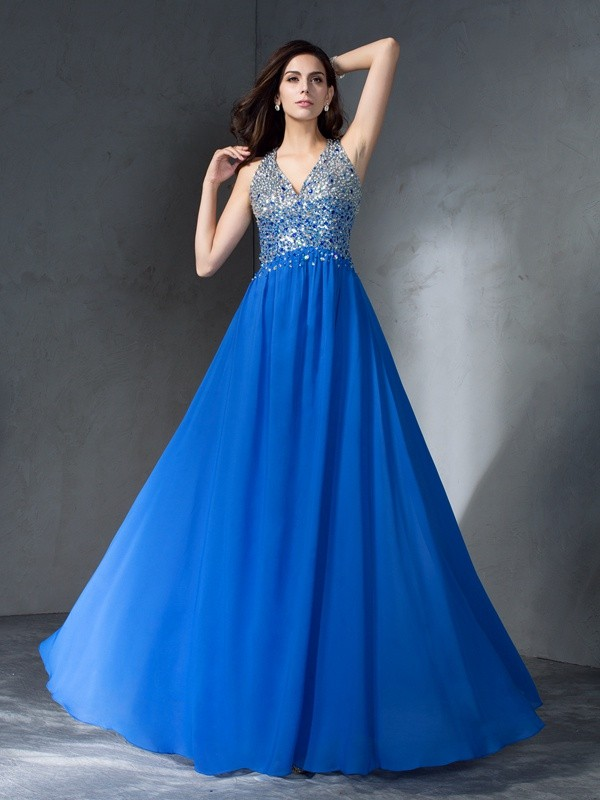 A-Line Princess V-neck Beading Long Chiffon Dress