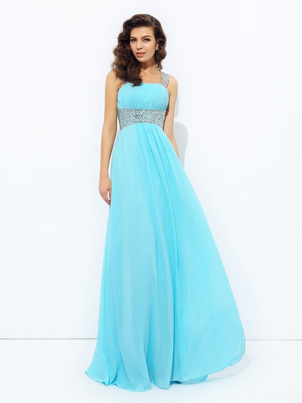 A-Line Princess Straps Sequin Long Chiffon Dress