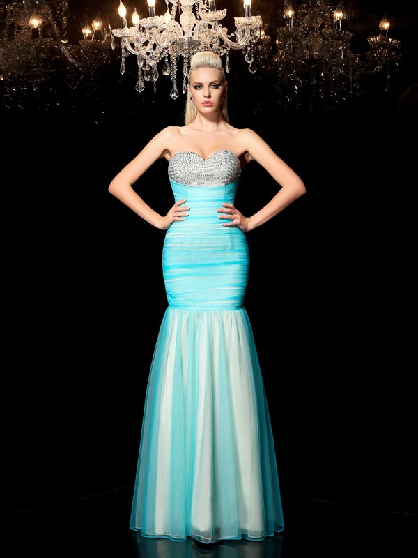 Sheath/Column Sweetheart Sequin Long Net Dress