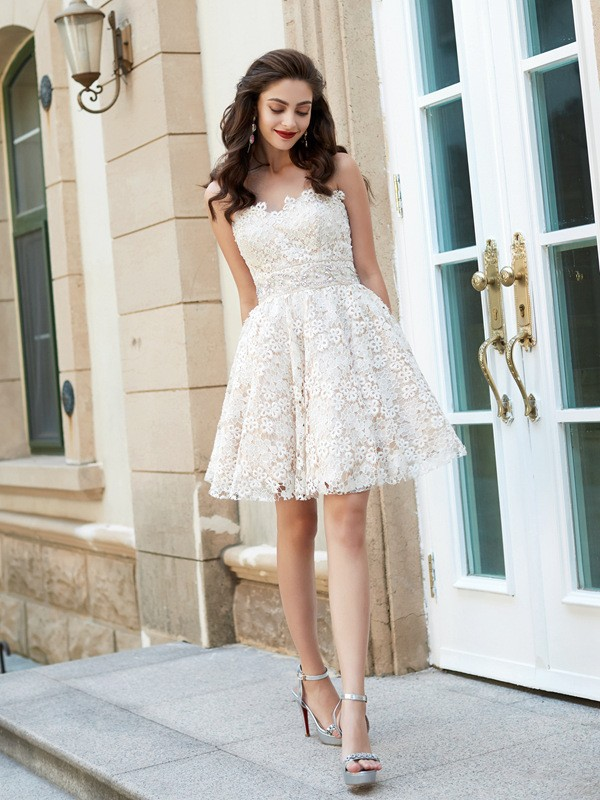 A-Line Princess Sweetheart Rhinestone Short/Mini Lace Dress