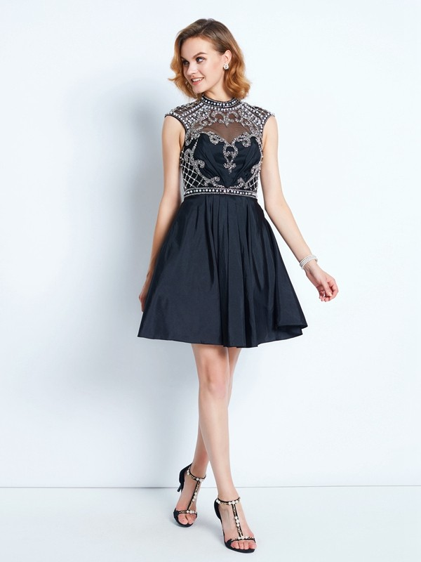 A-Line Princess High Neck Beading Short/Mini Satin Dress