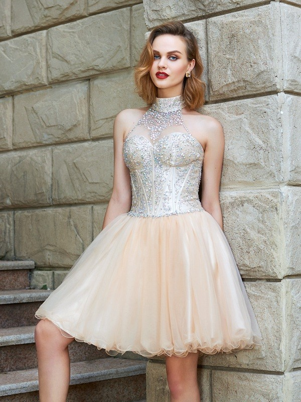 A-Line Princess Halter Beading Net Short/Mini Dress