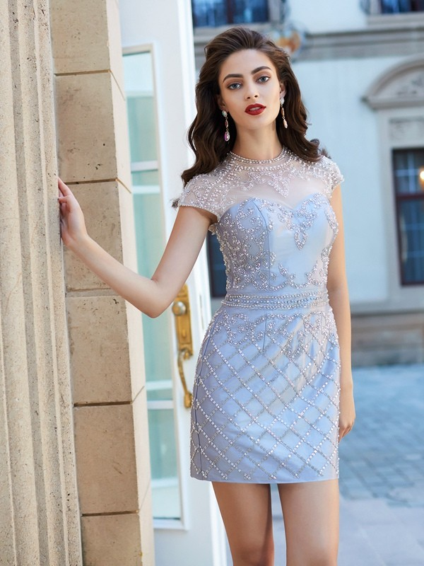 Sheath/Column Jewel Short Sleeves Beading Satin Short/Mini Dress