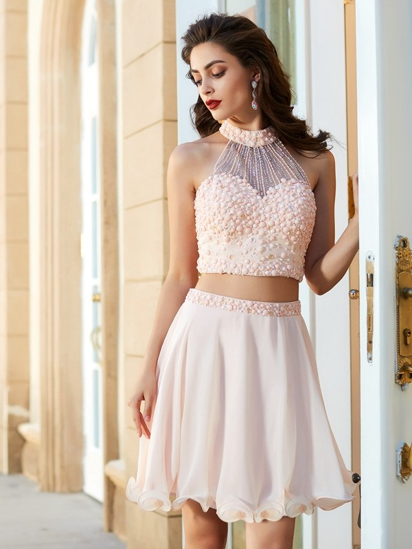 A-Line Princess Halter Beading Chiffon Short/Mini Two Piece Dress