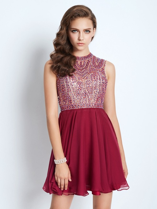 A-Line Princess Jewel Chiffon Beading Short/Mini Dress