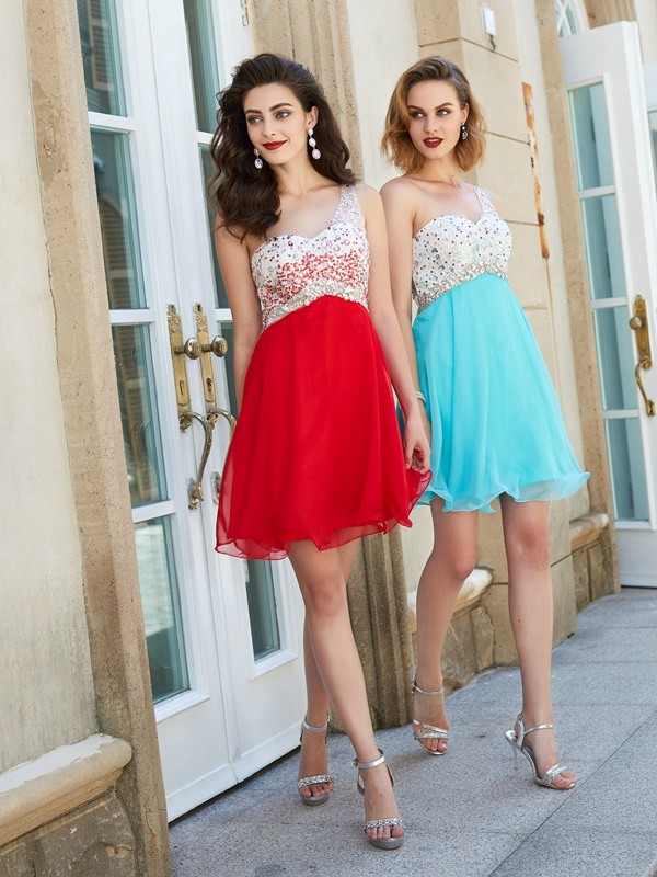 A-Line Princess Chiffon One-Shoulder Beading Short/Mini Dress