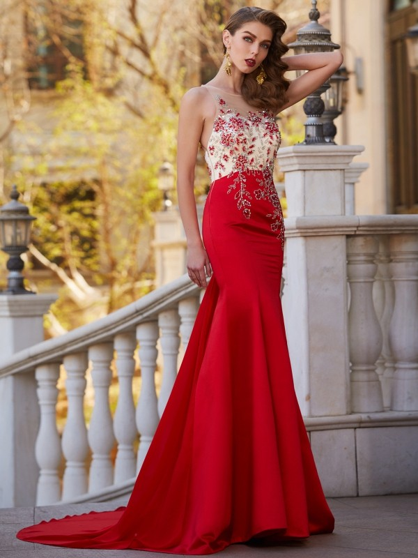 Mermaid Style Sheer Neck Court Train Applique Stain Dress
