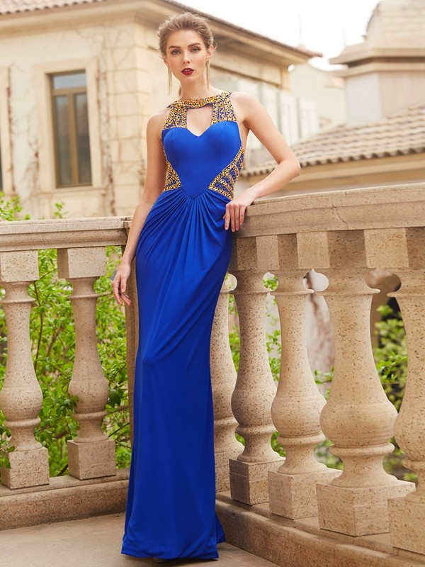 Sheath/Column Scoop Floor-Length Beading Spandex Dress