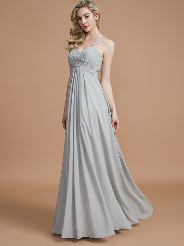 A-Line Sweetheart With Ruched Floor-Length Chiffon Bridesmaid Dress