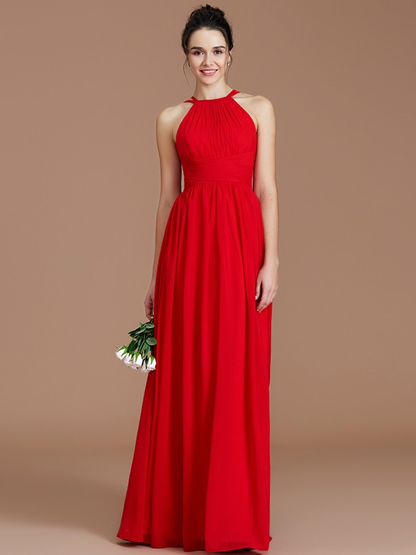 A-Line Halter With Ruched Floor-Length Chiffon Bridesmaid Dress