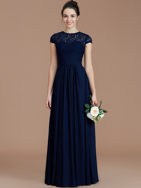 A-Line Jewel Short Sleeves With Lace Floor-Length Chiffon Bridesmaid Dress