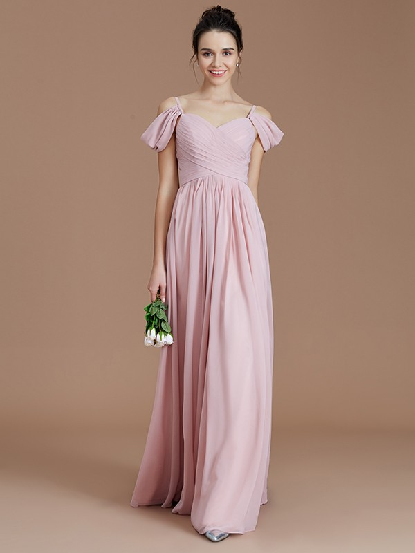 A-Line Off-the-Shoulder With Ruched Floor-Length Chiffon Bridesmaid Dress