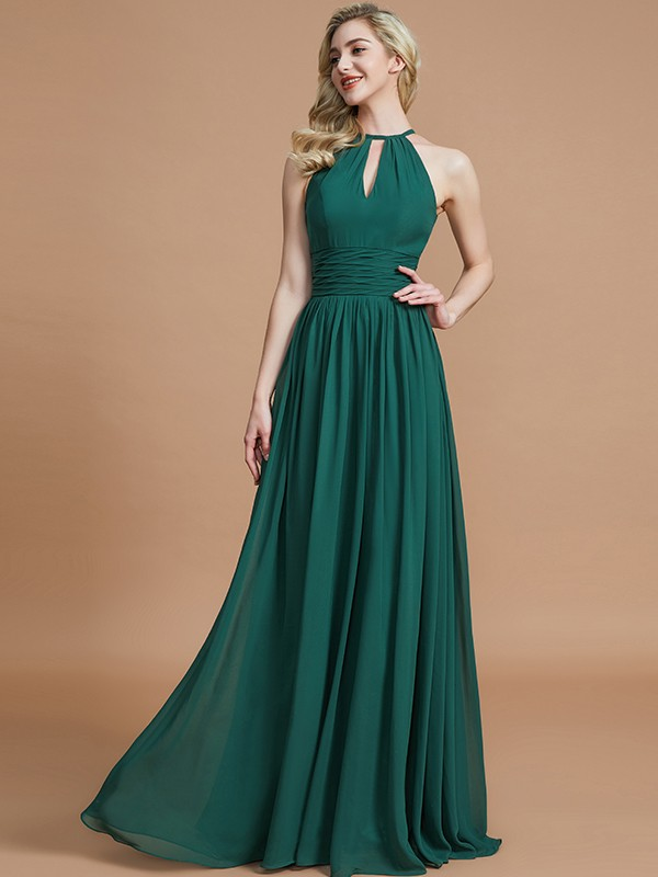 A-Line Chiffon Scoop Floor-Length Bridesmaid Dress
