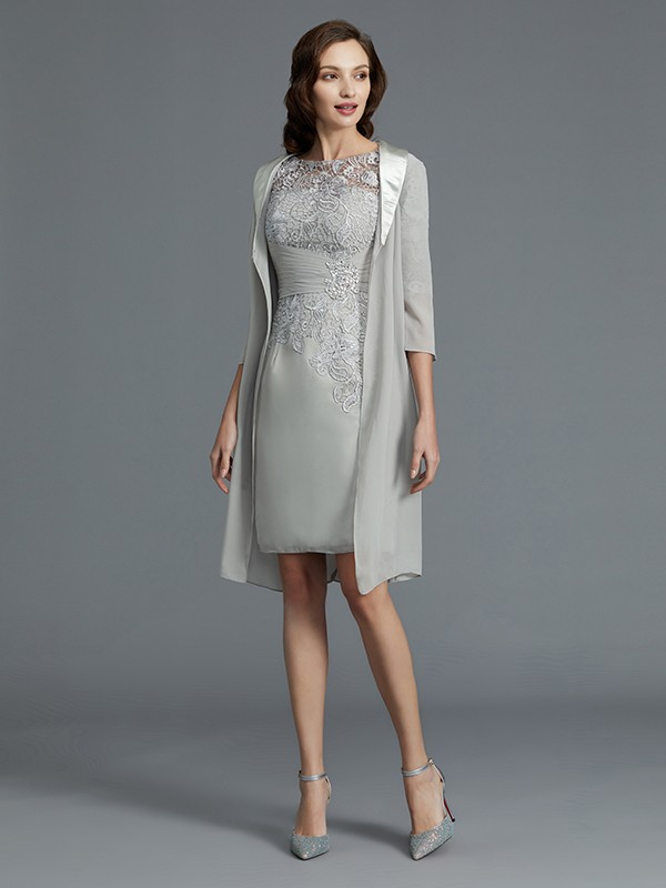 Sheath Scoop 1/2 Sleeves Chiffon Short/Mini Mother of the Bride Dress