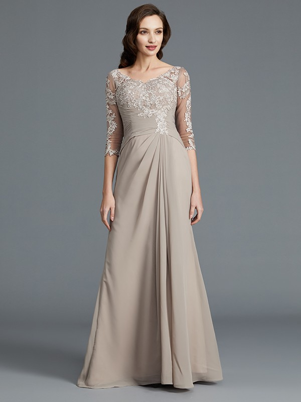 A-Line 1/2 Sleeves Scoop With Applique Chiffon Floor-Length Mother of the Bride Dress