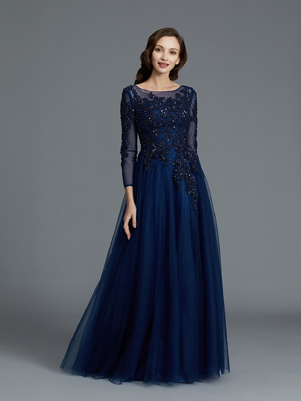 A-Line Long Sleeves Scoop With Beading Floor-Length Tulle Mother of the Bride Dress