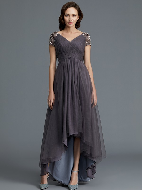 A-Line V-neck Short Sleeves Asymmetrical Tulle Mother of the Bride Dress