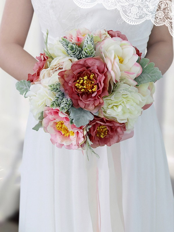 Fashion Round Silk Flower Bridal Bouquets