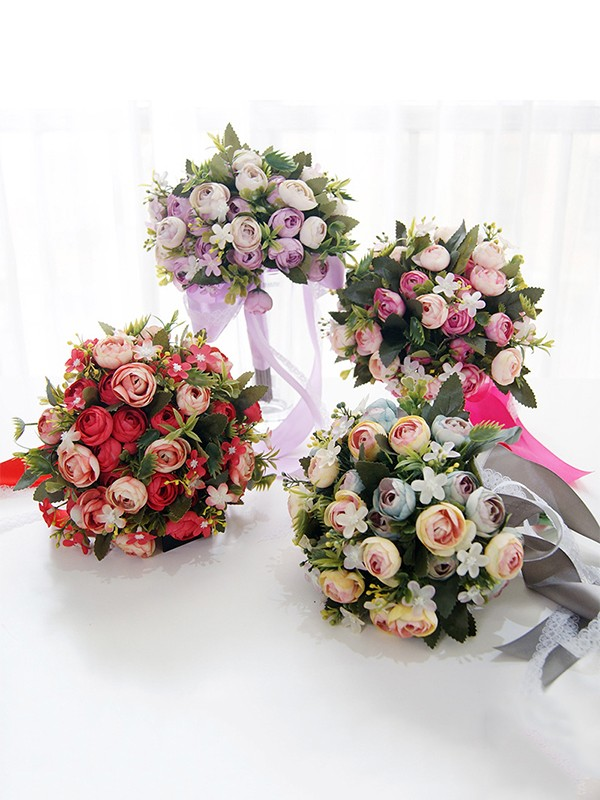 Blooming Free-Form Silk Flower Bridal Bouquets