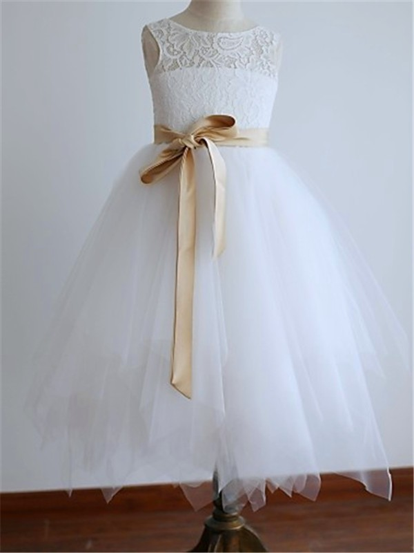 Just My Style Princess Style Scoop Sash/Ribbon/Belt Ankle-Length Tulle Flower Girl Dress